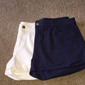H&M's shorts! 2 pair! Navy& White!! Size 12!!! EUC